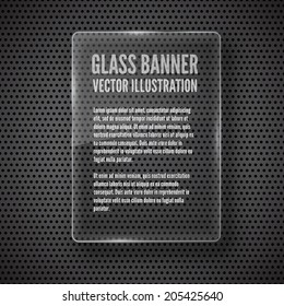 Vector glass frame banner on abstract metal background
