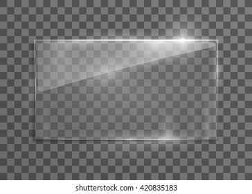 Vector glass frame. Isolated on transparent background. Vector illustration, eps 10.