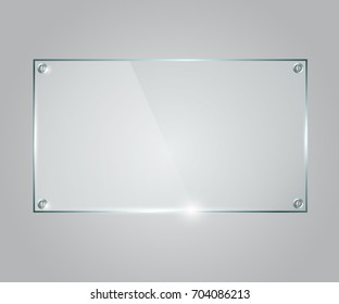 Vector glass frame. Isolated on transparent background. Glass banner realistic vector illustration