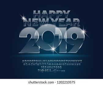 Vector Glass Happy New Year 2019 Greeting Card with set of Letters, Symbols and Numbers. Unique transparent Font