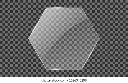 Vector glass hexagon on a transparent background. Transparent mirror, realistic glare window