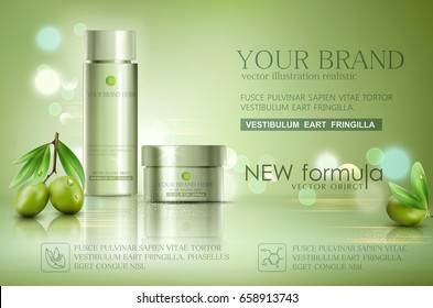 Vector glass jar on bokeh background with green olives  . Element for modern design, advertising for sales, template cosmetic face cream, body. Realistic 3d illustration.