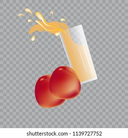 Vector of glass of juice with splash and peaches on transparent background. 3d.  Isolated elements