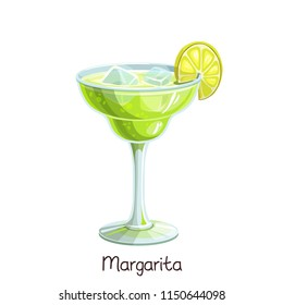 Vector glass of margarita cocktail with lime slice isolated on white. Color illustration summer alcohol drink.