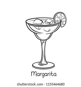 Vector glass of Margarita cocktail with lime slice in hand drawn style. Retro illustration summer alcohol drink.
