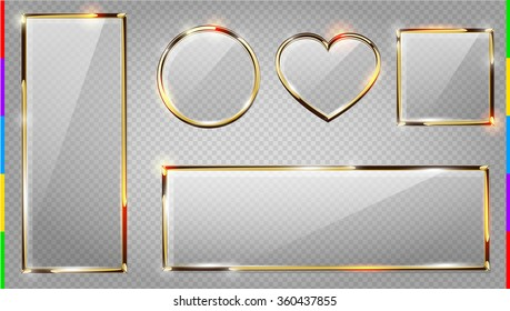 Vector glass modern banner set with shiny golden metallic frame, square, horizontal and vertical rectangle, heart, round. Realistic glossy plate on transparent background