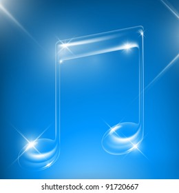 Vector glass music note (true transparency)