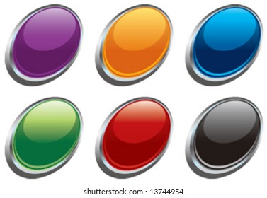 Vector glass oval buttons