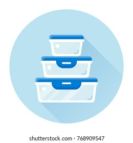 vector glass or plastic food containers / round and square storage / flat, isolated, circle, sign and icon template