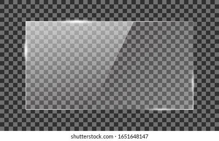 Vector glass rectangle on a transparent background. Transparent mirror, realistic glare window.