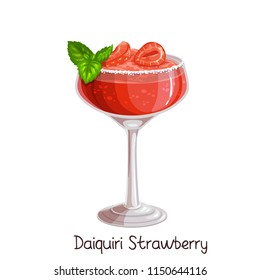 Vector glass of strawberry daiquiri cocktail with strawberries and mint leaves isolated on white. Color illustration summer alcohol drink.