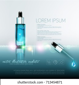 Vector glass vial with professional facial serum with a pipette on  the blured  background .Template cosmetic products with oil Q10. Element for design, advertising, promotion of cosmetic