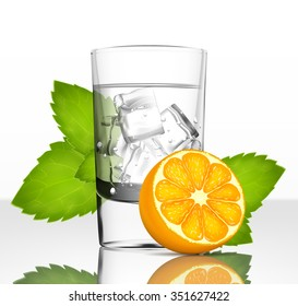 Vector glass of water with ice, orange and mint