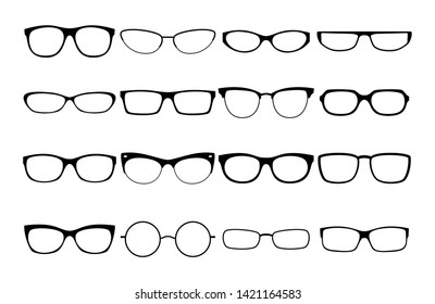 632ffa1b23 Vector glasses frames. Black rim glasses vector collection, eyeglasses  frame fashion model set,