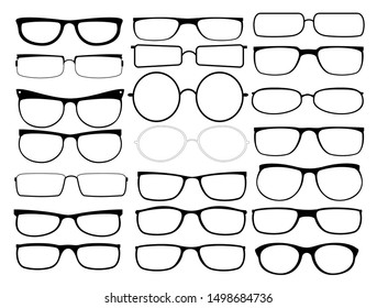 Vector glasses frames. Black rim glasses, sunglass spectacles silhouettes, eyeglasses frame fashion model for man and woman  vector set.