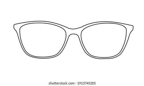 Vector Glasses Illustration, Black and White Glasses Frame