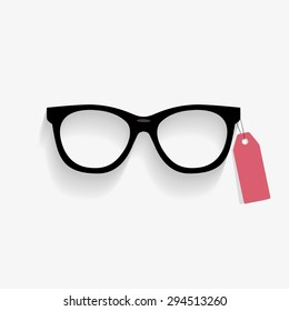 Vector Glasses with long shadow and price tag.