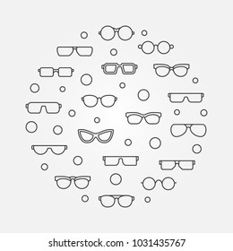 Vector glasses round concept illustration or symbol in thin line style