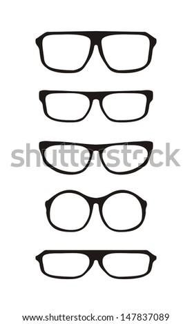 59da015039669 Vector glasses set with black thick holder retro hipster illustration  isolated on white background. Medical