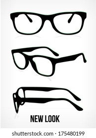 vector glasses silhouette. glasses background. glasses isolated on white background.