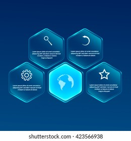 Vector glassy Hexagon banner. Infographic design,Can be used for website and promotion.