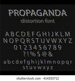 Vector Glitch alphabet. Letter and numbers. Glitched typeface with noise background. Distortion modern font set with interference effect. Vintage analog TV text effect.
