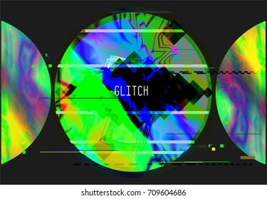 Vector glitch background. Digital image data distortion. Corrupted image vector file. Colorful abstract background. Chaos aesthetics. Signal error.