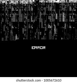 Vector glitch background in pixel style. Cityscape in a distorted screen image.  Futuristic background with error about computer security.