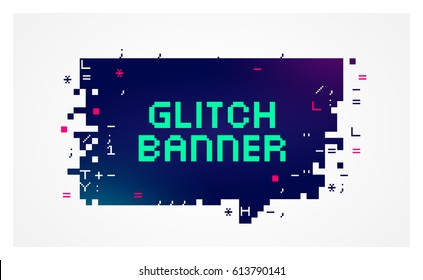 Vector glitch banner with text placeholder. Geometric talk bubble with broken pixel effect on the edges on a dark background.