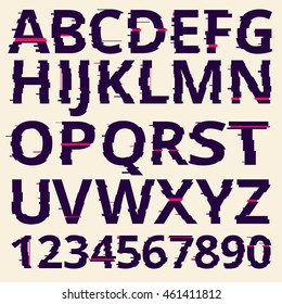 Vector glitch fonts pack.
