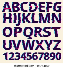 Vector glitch fonts pack. distortion effect. New design