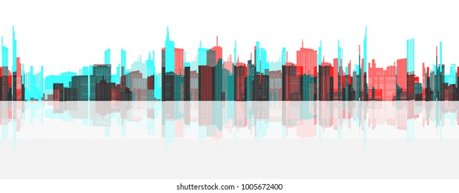 Vector glitch illustration in pixel style. Cityscape - combination of modern architectural forms and high-rise buildings.