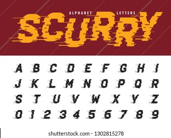Vector of Glitch Modern Alphabet Letters and numbers, Grunge linear Condensed Italic stylized fonts, Minimal Letters set for Futuristic, Broken, Scurry, universal, Branding & Identity