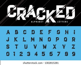 Vector of Glitch Modern Alphabet Letters and numbers, Grunge linear Condensed stylized fonts, Minimal Letters set for Futuristic, Broken, Crack, universal, Branding & Identity