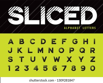 Vector of Glitch Modern Alphabet Letters and numbers, Grunge linear stylized fonts, Minimal Letters set for Futuristic, Broken, universal, Branding & Identity