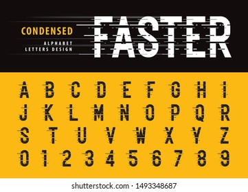 Vector of Glitch Modern Alphabet Letters and numbers, Grunge linear stylized fonts, Speed effect faster motion, Minimal Letter set for Futuristic, universal, Digital, Technology, Future, Branding