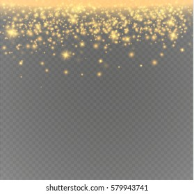 Vector glitter particles background effect for luxury greeting rich card. Sparkling texture. Star dust sparks in explosion on transparent background.
