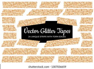 Vector Glitter Rose Gold Tape Strips with Torn Edges. 24 Unique Glittering Isolated Stickers. Chic Festive Photo or Note Sticker for Ad, Print or Web, Layout Element, Clip-art, Scrapbook Embellishment