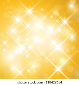 Vector glittering stars on golden glittering background (can be used with any background). Abstract gold twinkle backdrop.