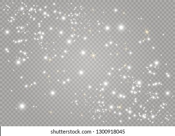 Vector glitters on a transparent background. Christmas abstract pattern. White sparks and golden stars sparkle with a special light effect. Sparkling particles of fairy dust.