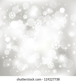 Vector glittery silver abstract Christmas background.