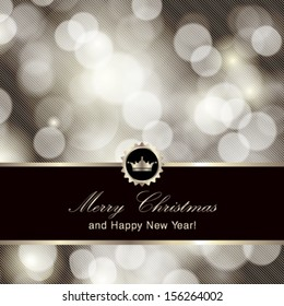 Vector glittery silver Merry Christmas and Happy New Year card design. Perfect as invitation or announcement.