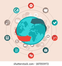 Vector global business concept in flat style - worldwide network and online communication icons and signs