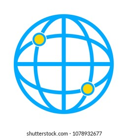 vector global gps icon - navigation illustration, travel symbol isolated