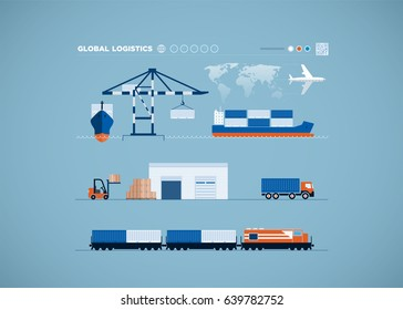 Vector global transportation concept infographics.