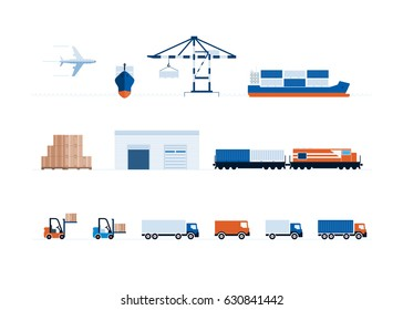 Vector global transportation and delivery symbol collection.