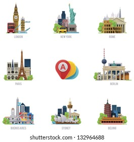 Vector global travel destinations icon set. Includes symbols and landmarks of London, UK; New York, USA, Rome, Italy; Paris, France; Berlin, Germany; Buenos Aires; Sydney, Australia and Beijing, China