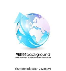 vector globe with arrow