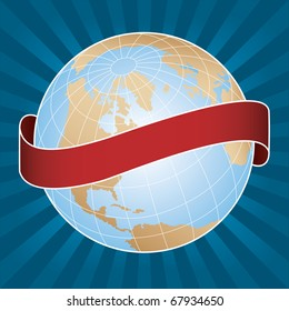Vector globe with banner