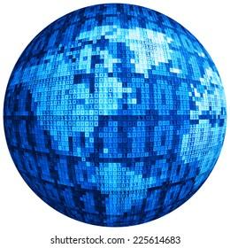 Vector globe consist of binary code. Eps8. RGB. Global colors. Gradients used.